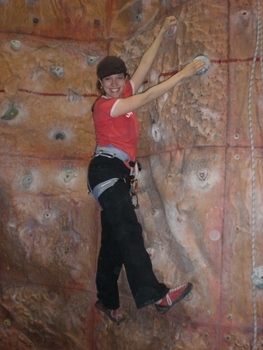 Kelsie was able to practice and improve at this indoor climbing gym.