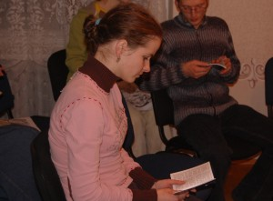 Anya shows interest in the Gospel of John.