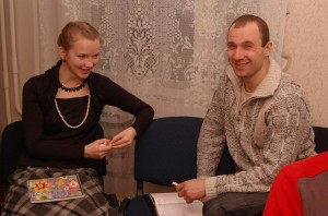 Dasha is one of the few girls that come. Taras was her discussion partner.