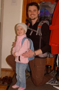 Abby and Daddy getting ready to go on their first big outing together.