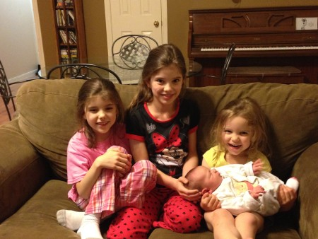 Beka, Abby, and Hosanna greet their new little sister.  No happier group of future mommies was ever seen!