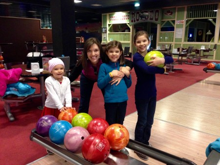 "On Thanksgiving, we all had a ""ball"" at the bowling alley!"