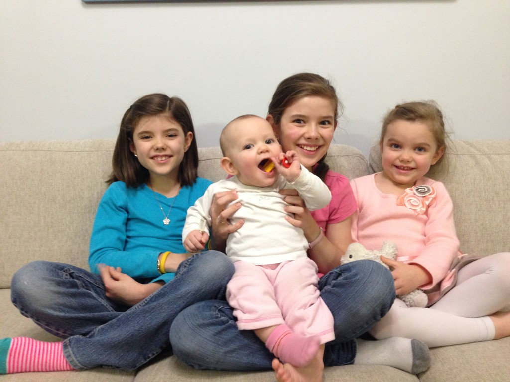 From the left: Rebekah, Kathryn, Abigail, Hosanna. It's hard to believe that Kathryn is nearly a year old!