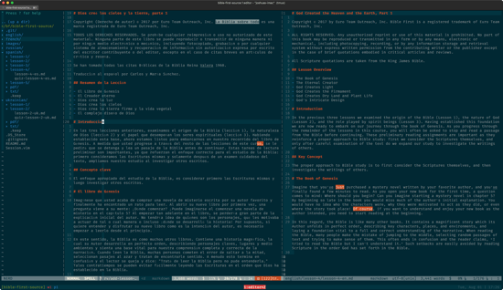 Comparing Spanish and English versions of Bible First in Vim.